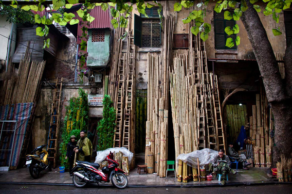A corner of Hang Dieu Street in the Old Quarter of Hanoi