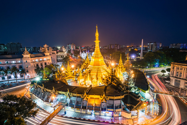Another Yangon at night, view of Sule Pagoda