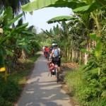 Biking trip through the lush green gardens of Mekong in Vinh Long