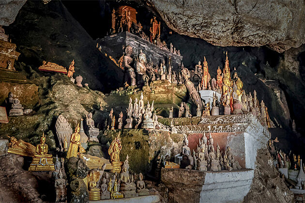 Buddha Statues in Pak Ou Caves - 19 Days in Southeast Asia