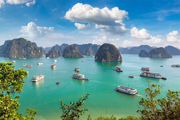 Panorama of Halong Bay - Southeast Asia 19 Day Tour