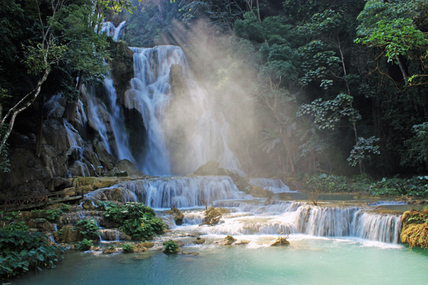 Water spray reflecting the sunlight at Kuang Si Fall