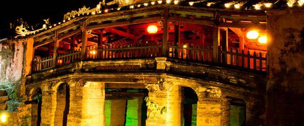 Japanese Covered Bridge at night