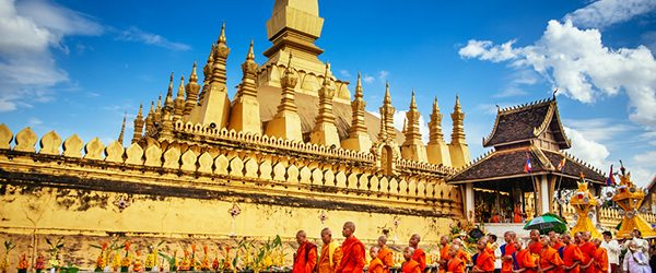 The Laos monks in That Luang festival