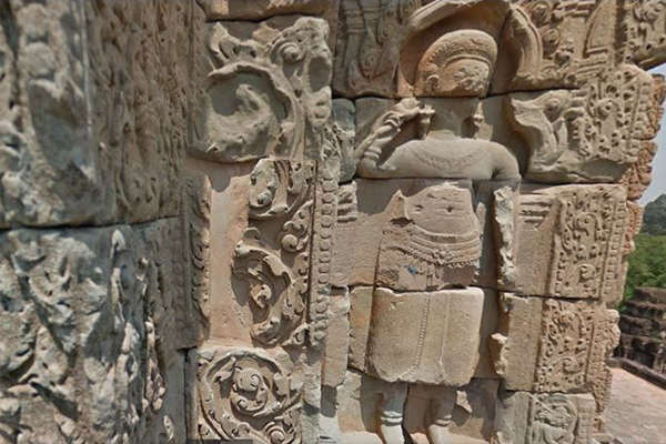 The relief on the wall of central tower in Bakong temple