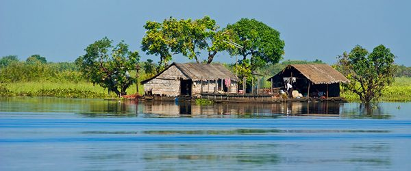 A floating house in Tonle Sap lake
