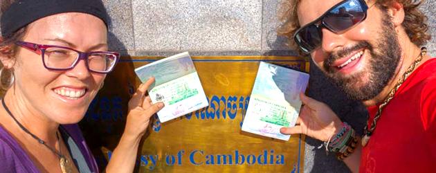 Cambodia visa stamp in passport