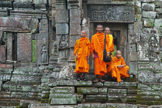 Adolescent monks in Angkor, Cambodia