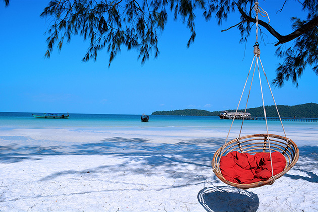 Koh Rong is the island of partying owning white sands and crystal clear water