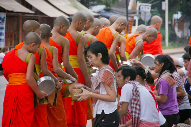 Morning Alms giving ceremony in Laos