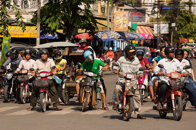 The main mean of transportation of local people in Cambodia is motorbike