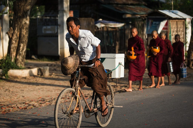 Burmese man in a hurry