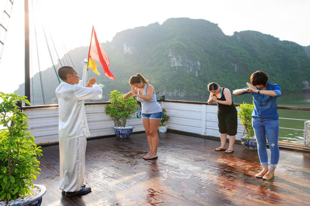 Morning Tai Chi in Halong Bay