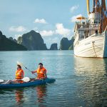 Kayaking in Halong Bay on cruise