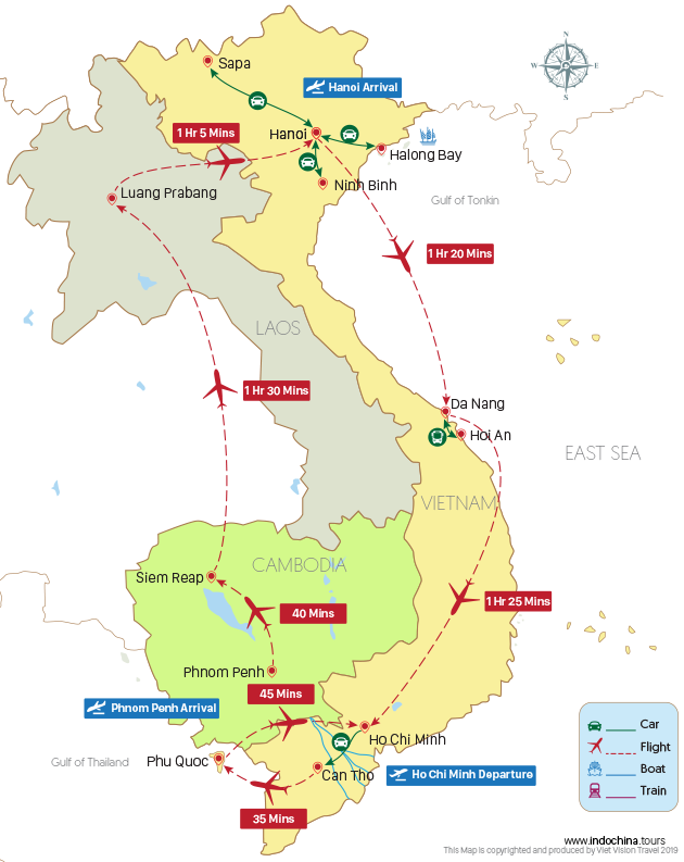 Indochina in Depth 24 Days Map