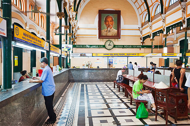 Inside Saigon Post Office - Vietnam Cambodia 21 Days
