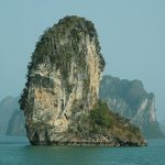 Scenic limestone islet in Halong Bay
