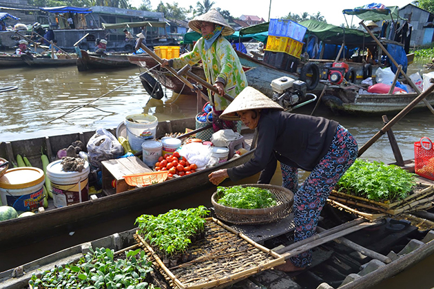 Cai Be Floating Market South Vietnam