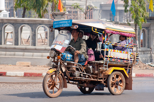 Tuk tuk transport in Laos