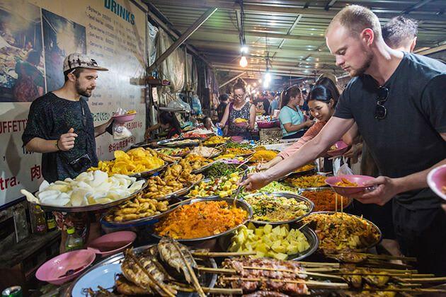 Enjoy food in Luang Prabang from Cambodia Laos Tour