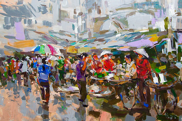 Hanoi street market from Nguyen Art Gallery