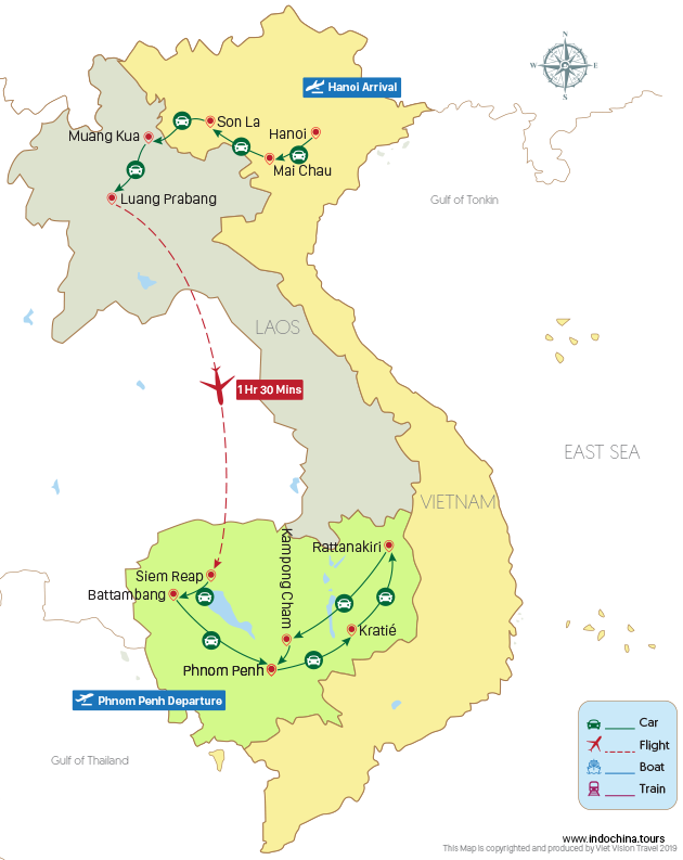 Untouched Indochina 20 Days Map