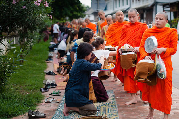 alms giving ceremony luang prabang must do experience in laos