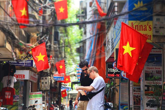 The national flag is hang on every corner of Hanoi streets on the Independence Day