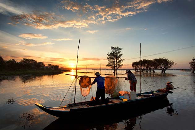 Farmers catching fishes on Mekong River Vietnam