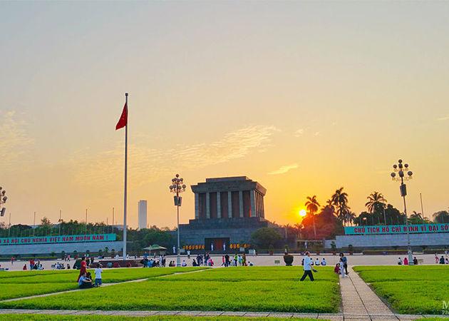 Ho Chi Minh Mausoleum Sunset - Vietnam Laos Tours