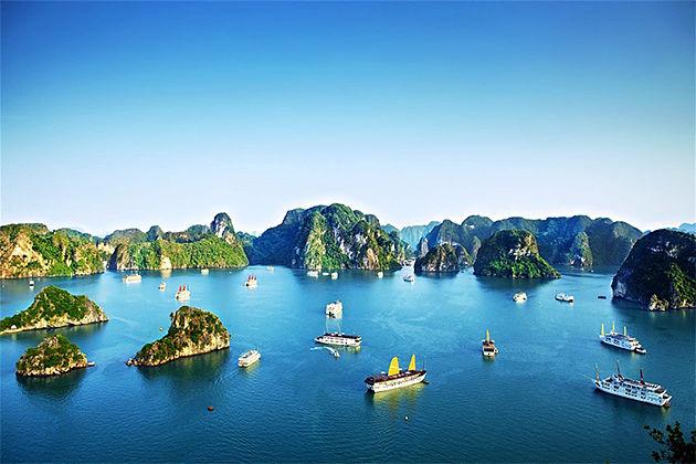 Panorama of Halong Bay - Vietnam Cambodia Tours