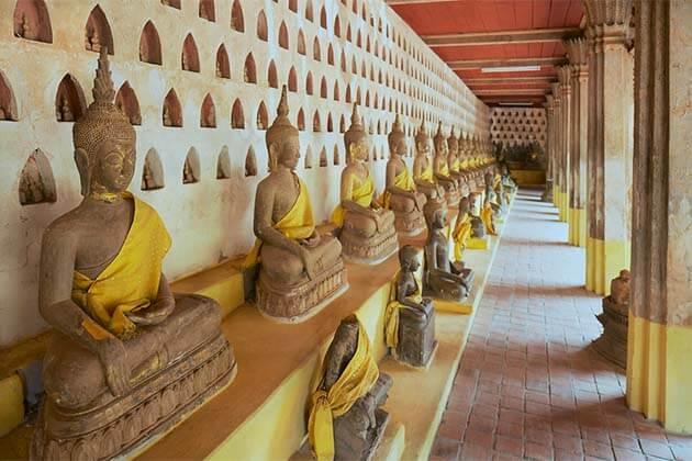 Buddha statues in Wat Sisaket Laos Vietnam Holiday