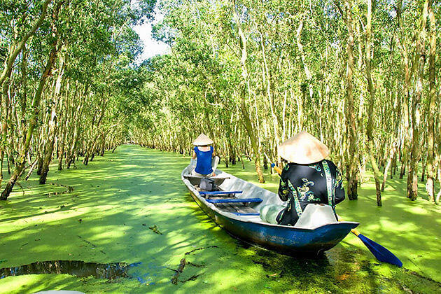 boat trip on trajuput forest indochina 21 day trip
