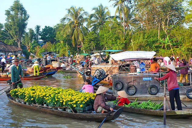 cai be floating market indochina 4 week tour package