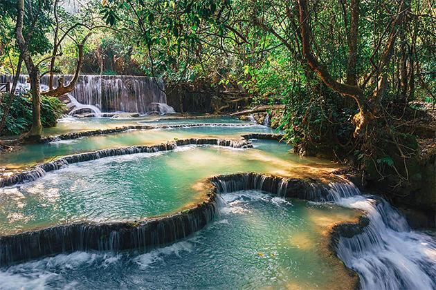 kuang si falls luang prabang cambodia laos tours