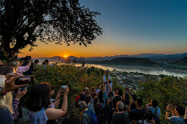 sun set view on Mount Phousi - Treasure of Cambodia Laos 15 days