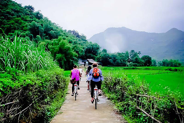 Biking through Mai Chau Town - Vietnam Ecotourism Places