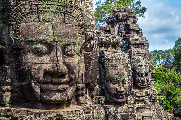 Stone Buddha Faces in Bayon Temple