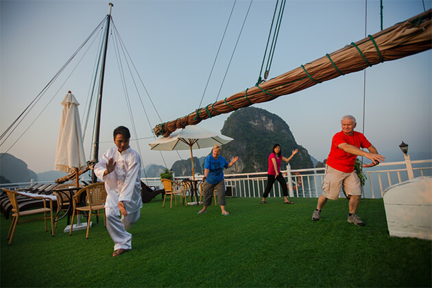 Tai Chi Exercises Halong Indochina 23 Day Tour